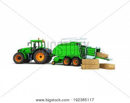 Baler-baler For Tractor 3D Render On White Background