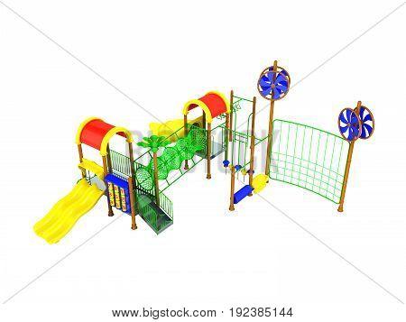 Children's Motley Playground Green 3D Render On A White Background No Shadow