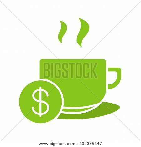 Buy cup of tea glyph color icon. Hot steaming mug with dollar sign. Silhouette symbol on white background. Negative space. Vector illustration