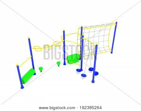 Playground Blue Yellow 3D Render On White Background