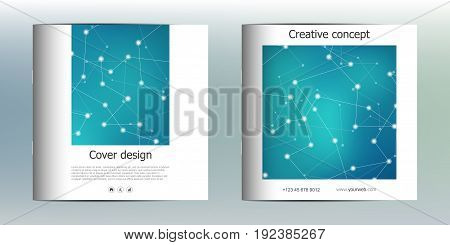 Square brochure template with structure of molecular particles and atom. Polygonal abstract background. Medicine, science and technology concept. Vector illustration