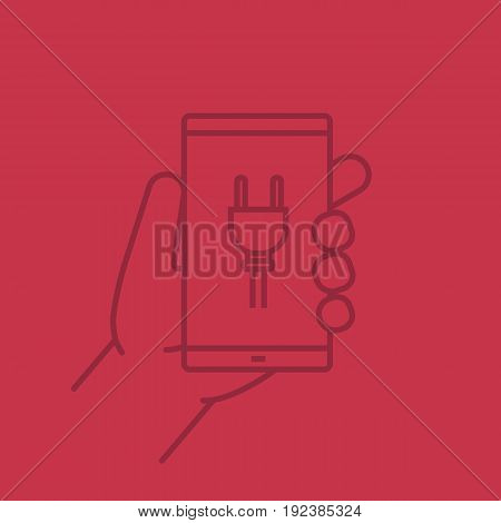 Hand holding smartphone color linear icon. Smart phone charging. Thin line outline symbols on color background. Vector illustration