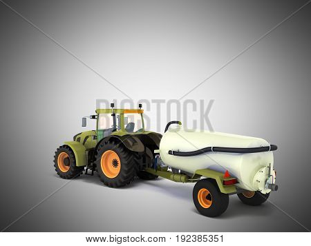 Tractor With A Tank 3D Rendering On A Gray Background