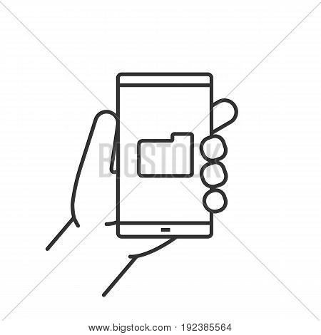 Hand holding smartphone linear icon. Thin line illustration. Smart phone file manager contour symbol. Vector isolated outline drawing