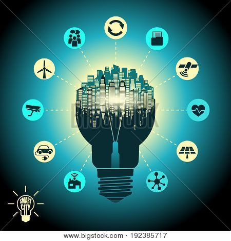 Smart city - cityscape in silhouette light bulb with advanced smart services, the Internet of things, social networking, circuit board