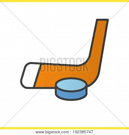 Ice hockey equipment color icon. Hockey puck and stick. Isolated vector illustration