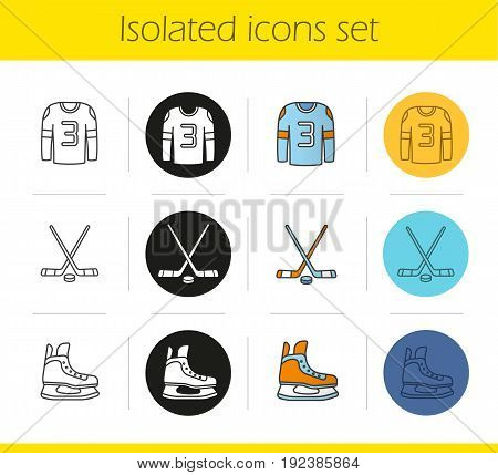 Ice hockey equipment icons set. Linear, black and color styles. Hockey player's shirt and skate, sticks with puck. Isolated vector illustrations