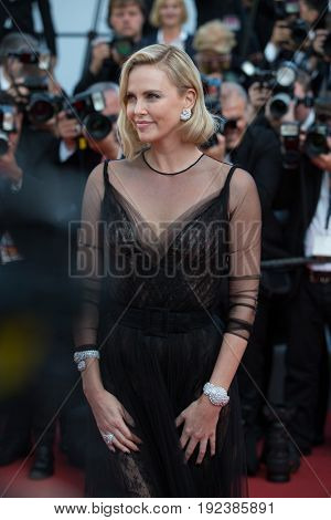 Charlize Theron attends the 70th Anniversary screening  premiere for at the 70th Festival de Cannes. May 23, 2017 Cannes, France
