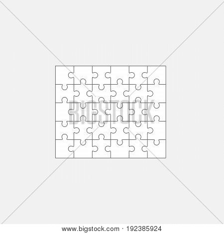 Six jigsaw puzzle parts, blank vector 5x6 pieces isolated