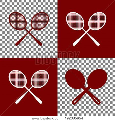 Two tennis racket sign. Vector. Bordo and white icons and line icons on chess board with transparent background.