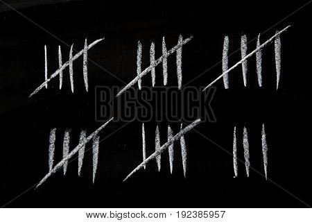 Count tally chalk counting numbers white background