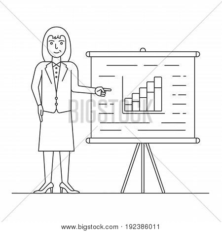 Marketer in suit pointing at presentation board with the growth chart. Business success. Young businesswoman showing market analytics. Linear character concept. Isolated vector illustration