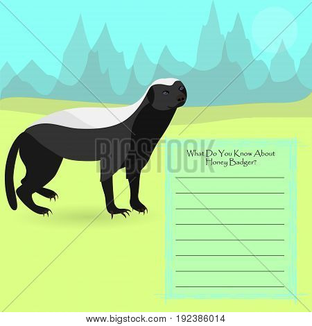 African Honey Badger Against Symplistic Nature Background and Poster with Space for Interesting Facts about this Animal. Educational Card for Childrens Schooling. Vector EPS 10
