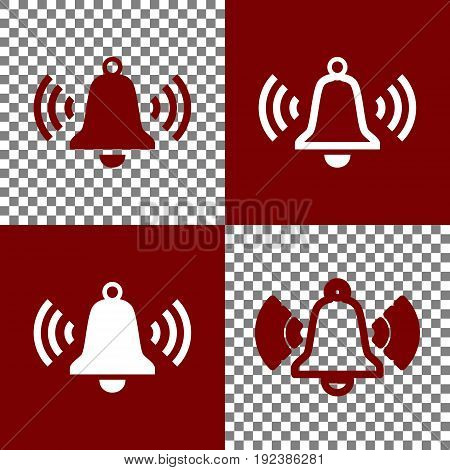 Ringing bell icon. Vector. Bordo and white icons and line icons on chess board with transparent background.
