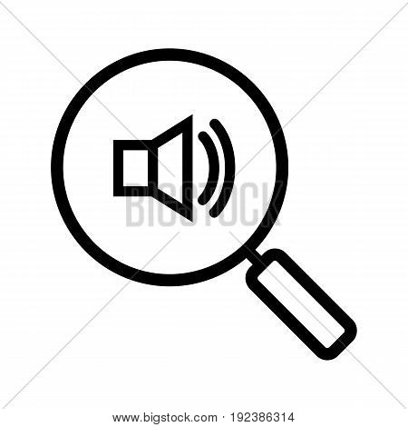 Magnifying glass with loudspeaker linear icon. Thin line illustration. Sound on contour symbol. Vector isolated outline drawing