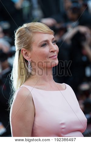 Uma Thurman attends the 70th Anniversary screening  premiere for at the 70th Festival de Cannes. May 23, 2017 Cannes, France