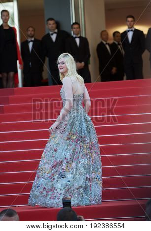 Elle Fanning attends the 70th Anniversary screening  premiere for at the 70th Festival de Cannes. May 23, 2017 Cannes, France