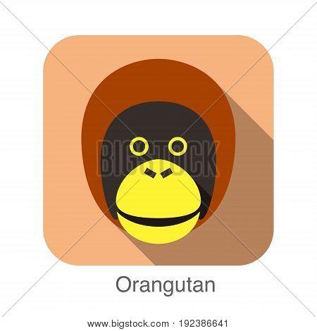 animal gorilla face flat icon, vector illustration