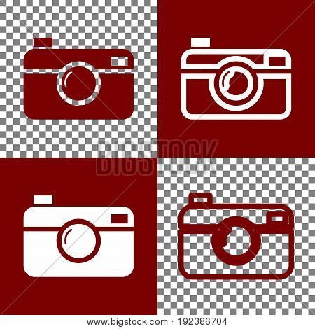 Digital photo camera sign. Vector. Bordo and white icons and line icons on chess board with transparent background.