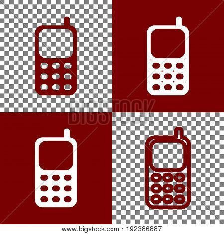 Cell Phone sign. Vector. Bordo and white icons and line icons on chess board with transparent background.