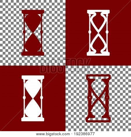 Hourglass sign illustration. Vector. Bordo and white icons and line icons on chess board with transparent background.