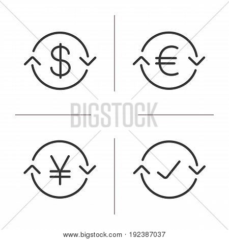 Money exchange linear icons set. US dollar, euro, Japanese yen, completed exchange. Refund. Thin line contour symbols. Isolated vector outline illustrations