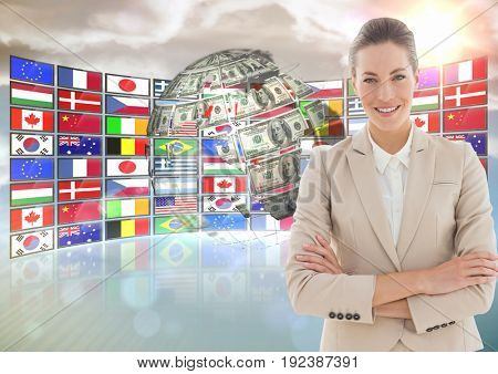 Digital composite of panel with flags and money earth. Happy business woman hand folded