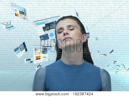 Digital composite of panels with websites flying and numbers in blue in front. Futuristic clothes woman with his eyes clo