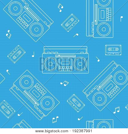 Retro cassette and radio recorder seamless pattern white outline vector