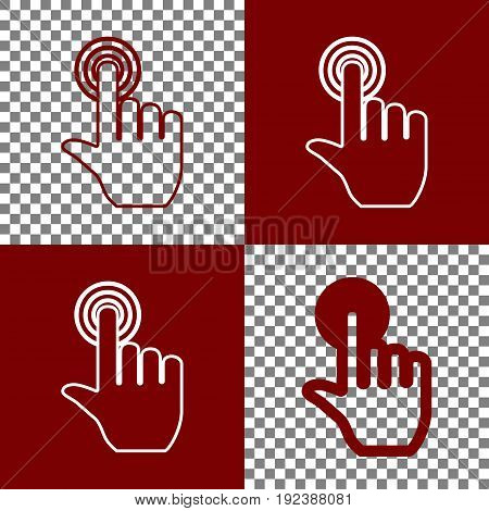Hand click on button. Vector. Bordo and white icons and line icons on chess board with transparent background.