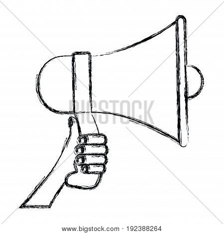monochrome blurred silhouette of hand holding megaphone vector illustration