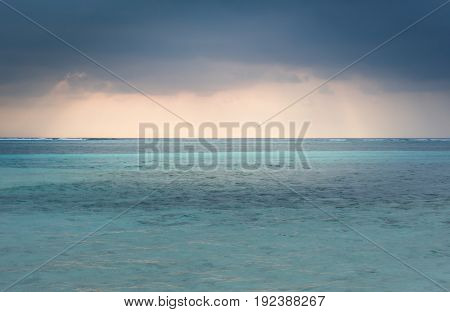 Approaching storm upon horizon, cloudy sky in Maldives