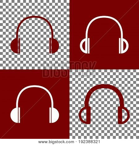 Headphones sign illustration. Vector. Bordo and white icons and line icons on chess board with transparent background.