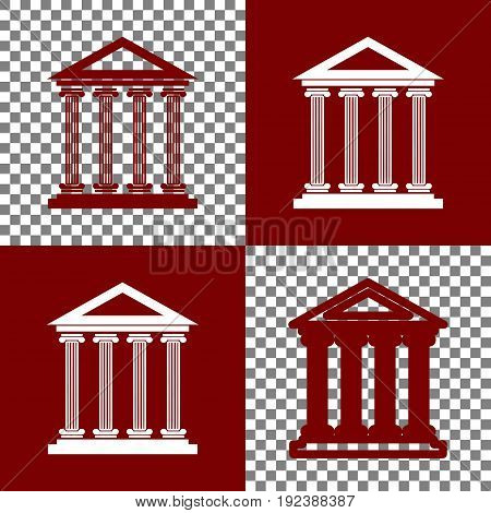 Historical building illustration. Vector. Bordo and white icons and line icons on chess board with transparent background.
