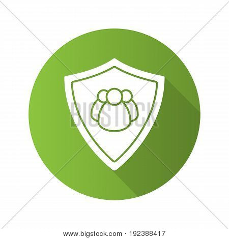 Users protection flat design long shadow icon. Collective security. Protection shield with group of people. Vector silhouette symbol