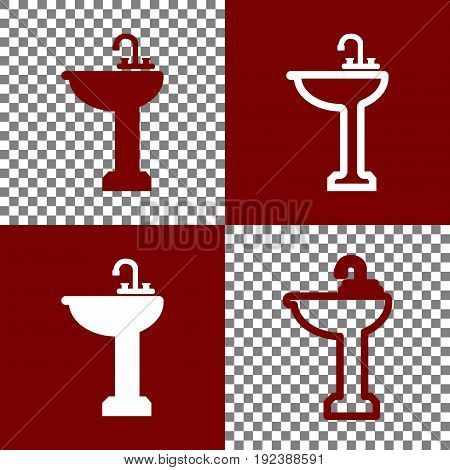 Bathroom sink sign. Vector. Bordo and white icons and line icons on chess board with transparent background.