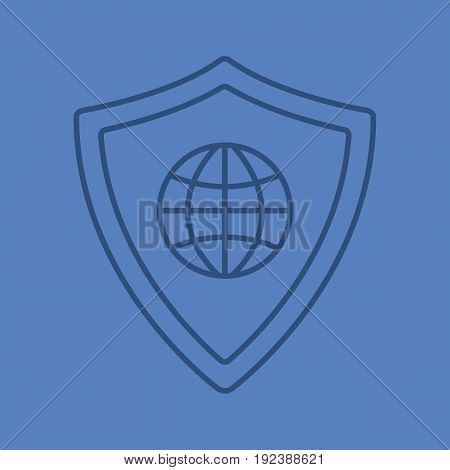 Network security color linear icon. Protection shield with globe model. Thin line outline symbols on color background. Vector illustration