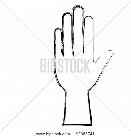 monochrome blurred silhouette of left hand vector illustration