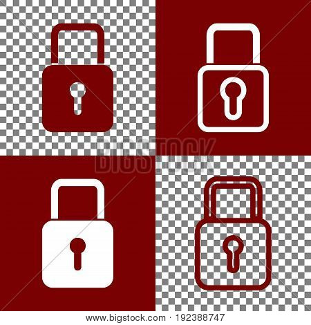 Lock sign illustration. Vector. Bordo and white icons and line icons on chess board with transparent background.