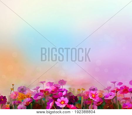 Abstract colorful oil painting red pink cosmos flower daisy wildflower in field. Blurry wildflowers at meadow with soft blue sky. Spring summer season nature background.