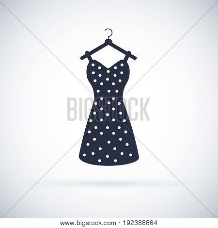 Summer Woman Dress Icon. Vintage dresse silhouette vector. Black retro dresse illustration. Clothes symbol. Modern simple flat vector illustration for web site or mobile app