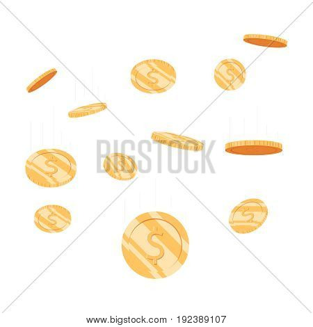 Coins Money Falling Vector Illustration, Flat Style Dropping Gold Coins