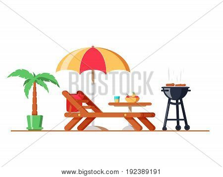 Modern Backyard Design Exterior With Lounger, Table, Sunshade Umbrella And Electric Grill For Barbec