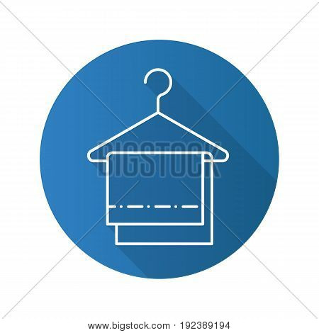 Towels on clothes hanger. Flat linear long shadow icon. Vector outline symbol