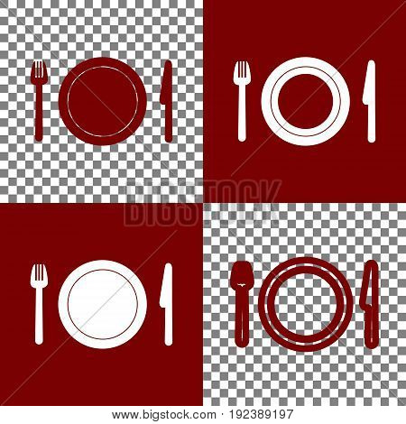 Fork, plate and knife. Vector. Bordo and white icons and line icons on chess board with transparent background.