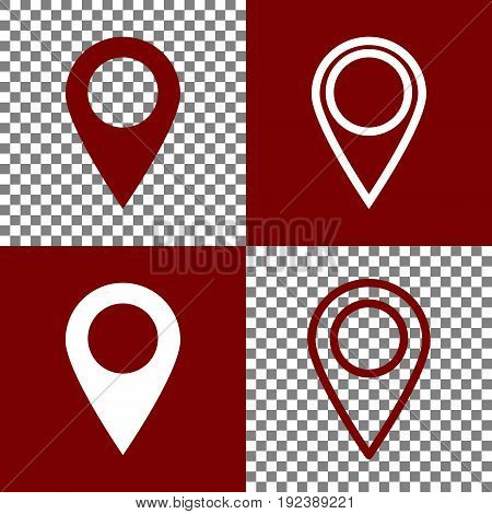 Mark pointer sign. Vector. Bordo and white icons and line icons on chess board with transparent background.
