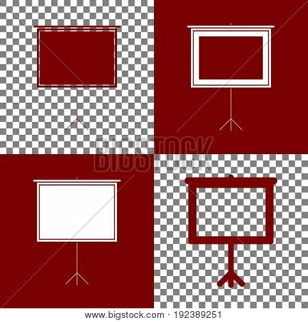 Blank Projection screen. Vector. Bordo and white icons and line icons on chess board with transparent background.