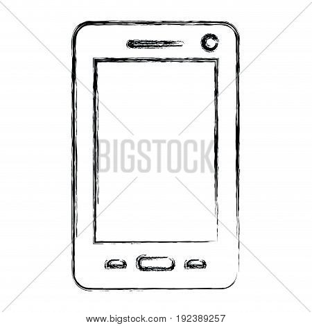 monochrome blurred silhouette of smartphone vector illustration