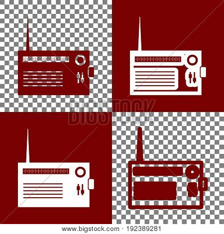 Radio sign illustration. Vector. Bordo and white icons and line icons on chess board with transparent background.