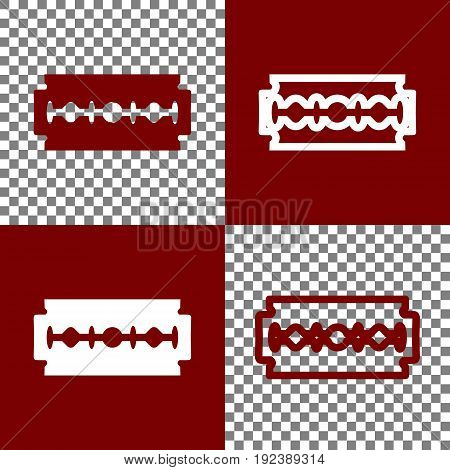 Razor blade sign. Vector. Bordo and white icons and line icons on chess board with transparent background.